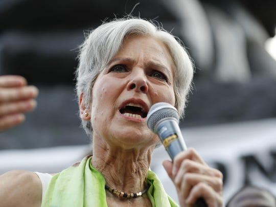 Dr. Jill Stein, presumptive Green Party presidential nominee, speaks at a rally in Philadelphia, Wednesday, July 27, 2016, during the third day of the Democratic National Convention. (AP Photo/Alex Brandon)
