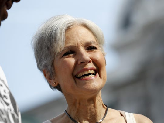 Dr. Jill Stein, presumptive Green Party presidential nominee, arrives at a rally in Philadelphia, Wednesday, July 27, 2016, during the third day of the Democratic National Convention.