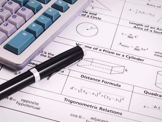 Mathematics, Equations close-up. Homework. Solving Mathematical Problem.
