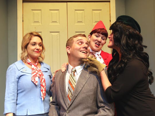 Actors from Strauss Theatre's Boeing Boeing (L-R): Megan LeBeouf, John Price, Tammy Sims and Moria O'Connor.