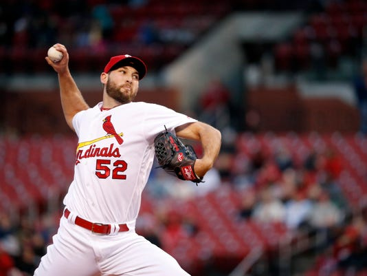 St. Louis Cardinals starting pitcher Michael Wacha throws during the first inning of a baseball game against the Milwaukee Brewers, Monday, May 1, 2017, in St. Louis. (AP Photo/Jeff Roberson)