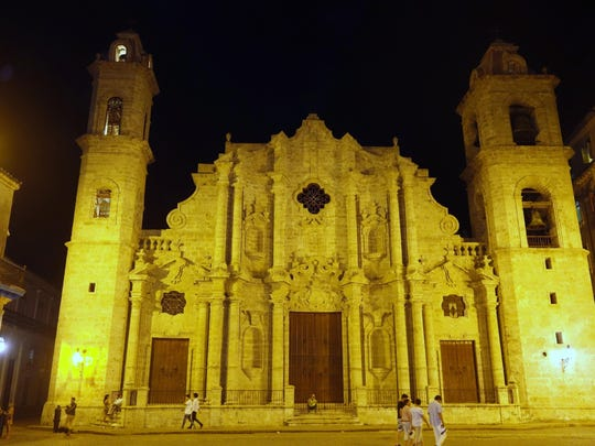 Catedral de San Cristobal de la Habana was completed in 1787. Christopher Columbus' remains were here until 1898 when they were moved to Seville, Spain. Note the Cathedral's asymmetrical towers.