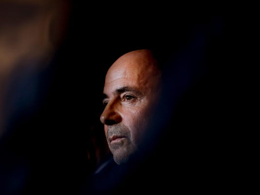 Argentina's new soccer coach Jorge Sampaoli attends a press conference in Buenos Aires, Argentina, Thursday, June 1, 2017. (AP Photo/Natacha Pisarenko)