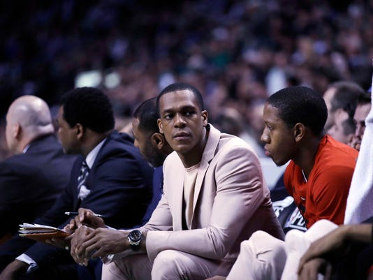 This April 26, 2017 photo shows Chicago Bulls guard Rajon Rondo sitting on the bench during the second quarter of a first-round NBA playoff basketball game in Boston. A person with knowledge of the situation of tells The Associated Press, Saturday, July 15, 2017 that the New Orleans have agreed in principle on a one-year deal with Rajon Rondo. (AP Photo/Charles Krupa)