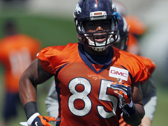 Denver Broncos tight end Virgil Green, a seventh-round pick in 2011 who is entering his seventh pro season, jogs during a drill at organized team activities at the NFL football team's headquarters in Englewood, Colo.