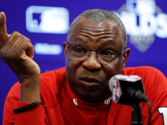 Washington Nationals manager Dusty Baker speaks during a media availability before Game 5 of baseball's National League Division Series against the Chicago Cubs, at Nationals Park, Thursday, Oct. 12, 2017, in Washington. (AP Photo/Alex Brandon)