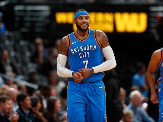 Oklahoma City Thunder forward Carmelo Anthony (7) in the second half of an NBA preseason basketball game Tuesday, Oct. 10, 2017, in Denver. The Thunder won 96-86.