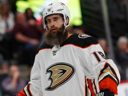 In this Oct. 13, 2017, photo, Anaheim Ducks right wing Patrick Eaves (18) in the first period of a hockey game in Denver. Eaves has been diagnosed with Guillain-Barre syndrome, and his hockey career is on hold while he recovers. The Ducks announced Eaves' diagnosis Monday, Oct. 24, and the club disclosed that the veteran goal-scorer was in intensive care last week. (AP Photo/David Zalubowski)