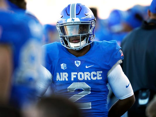 Air Force quarterback Arion Worthman looks on as time winds down in the second half of an NCAA college football game against Army, Saturday, Nov. 4, 2017, at Air Force Academy, Colo. (AP Photo/David Zalubowski)