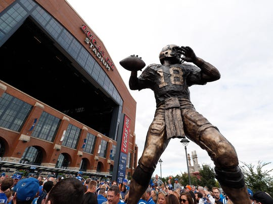 A general view of the Peyton Manning statue as seen