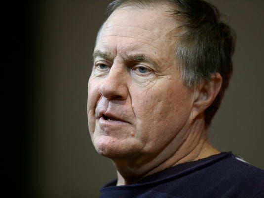 New England Patriots head coach Bill Belichick speaks at a news conference after the AFC championship NFL football game against the Jacksonville Jaguars, Sunday, Jan. 21, 2018, in Foxborough, Mass. The Patriots won 24-20. (AP Photo/Charles Krupa)