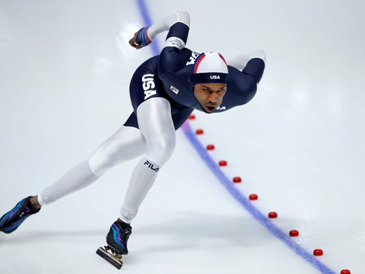 Shani Davis of the U.S. competes during the men's 1,000 meters speedskating race at the Gangneung Oval at the 2018 Winter Olympics in Gangneung, South Korea, Friday, Feb. 23, 2018. (AP Photo/Vadim Ghirda)