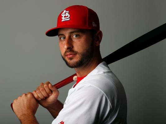 FILE - This is a 2018 file photo showing Paul DeJong of the St. Louis Cardinals baseball team. DeJong and the Cardinals agreed to a $26 million, six-year contract, Monday, March 5, 2018, a deal that includes team options for 2024 and 2025. (AP Photo/Jeff Roberson, File)