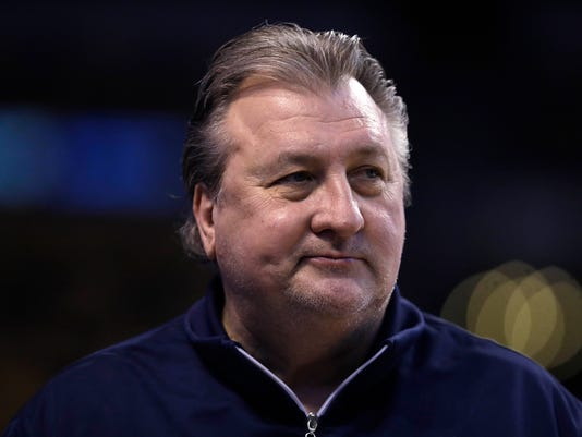 West Virginia head coach Bob Huggins watches his players during practice at the NCAA men's college basketball tournament in Boston, Thursday, March 22, 2018. West Virginia faces Villanova in a regional semifinal on Friday night. (AP Photo/Charles Krupa)