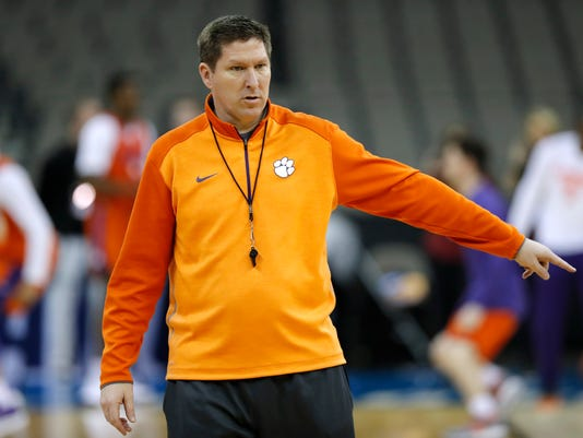 Clemson head coach Brad Brownell directs his team during practice at the NCAA men's college basketball tournament, Thursday, March 22, 2018, in Omaha, Neb. Clemson faces Kansas in a regional semifinal on Friday. (AP Photo/Charlie Neibergall)