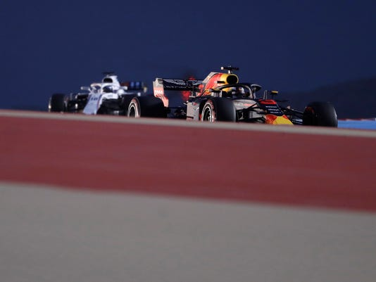 Red Bull driver Daniel Ricciardo of Australia steers his car during the qualifying session for the Bahrain Formula One Grand Prix, at the Formula One Bahrain International Circuit in Sakhir, Bahrain, Saturday, April 7, 2018. The Bahrain Formula One Grand Prix will take place here on Sunday. (AP Photo/Luca Bruno)