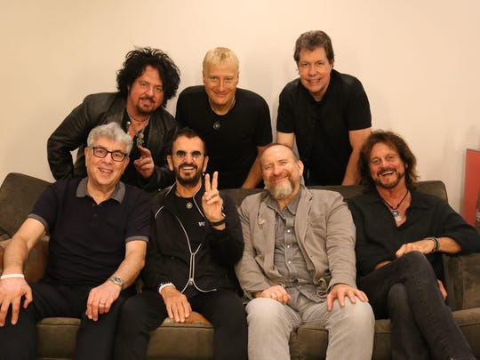 This tour of Ringo Starr and His All-Starr Band will include, front row from left, Graham Gouldman (10cc), Starr, Colin Hay (of Men at Work) and Gregg Rolie (Santana and Journey); back row, Steve Lukather (Toto), Gregg Bissonette (drums) and Warren Ham (percussion and saxophone).