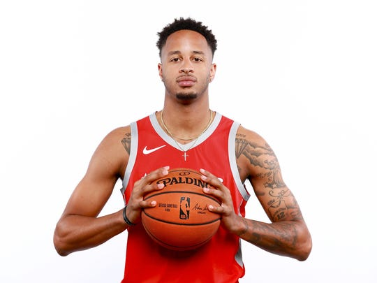 Vincent Edwards #12 of the Houston Rockets poses for a portrait during the Houston Rockets Media Day at The Post Oak Hotel at Uptown Houston on September 24, 2018 in Houston, Texas.