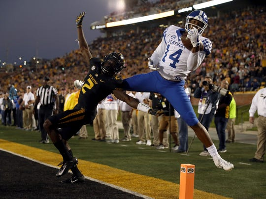 Kentucky's Ahmad Wagner draws a pass interference call on a Missouri player in their 2018 game.