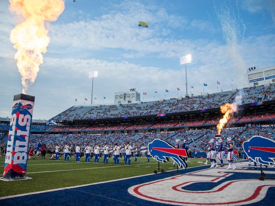 ORCHARD PARK, NY - AUGUST 09:  Pyrotechnics explode as the Buffalo Bills enter the field before a preseason game against the Carolina Panthers at New Era Field on August 9, 2018 in Orchard Park, New York.  (Photo by Brett Carlsen/Getty Images)