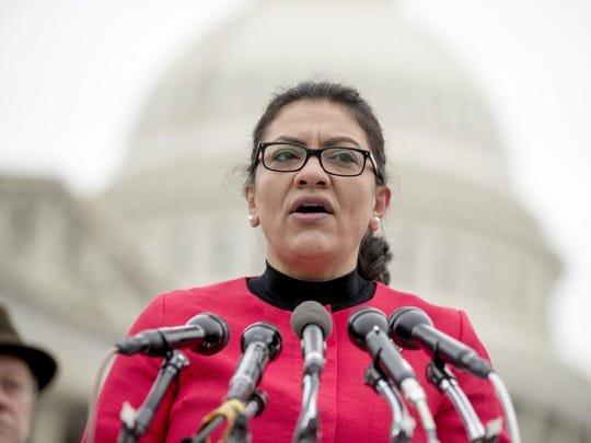 Rep. Rashida Tlaib, D-Mich., speaks at a news conference on Capitol Hill in Washington, Thursday, Jan. 17, 2019.