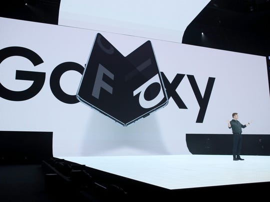 Samsung senior vice president of product marketing Justin Denison announces the new Samsung Galaxy Fold smartphone during the Samsung Unpacked event on February 20, 2019 in San Francisco, California.