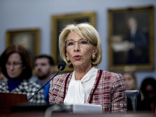 Education Secretary Betsy DeVos speaks during a House