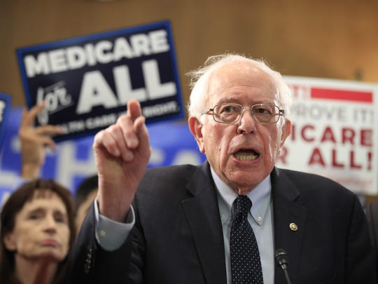Sen. Bernie Sanders, I-Vt., introduces the Medicare for All Act of 2019, on Capitol Hill in Washington, Wednesday, April 10, 2019.