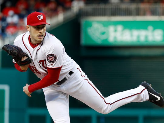 Washington Nationals starting pitcher Patrick Corbin follows through on a pitch to the New York Mets in the second inning of a baseball game, Wednesday, May 15, 2019, in Washington. (AP Photo/Patrick Semansky)