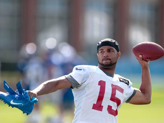 Jul 25, 2019; East Rutherford, NJ, USA; New York Giants wide receiver Golden Tate (15) throws a ball to fans after the first day of training camp at Quest Diagnostics Training Center. Mandatory Credit: Vincent Carchietta-USA TODAY Sports