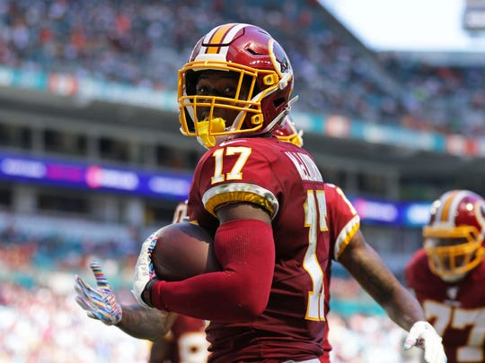 Oct 13, 2019; Miami Gardens, FL, USA; Washington Redskins wide receiver Terry McLaurin (17) celebrates after scoring a touchdown in the second quarter of the game against the Miami Dolphins at Hard Rock Stadium. Mandatory Credit: Sam Navarro-USA TODAY Sports