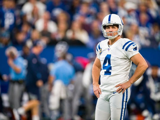 INDIANAPOLIS, IN - DECEMBER 01:  Adam Vinatieri #4 of the Indianapolis Colts reacts to having his field goal attempt blocked during the first quarter against the Tennessee Titans at Lucas Oil Stadium on December 1, 2019 in Indianapolis, Indiana. (Photo by Brett Carlsen/Getty Images)
