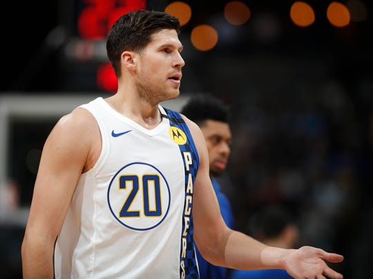 Indiana Pacers forward Doug McDermott is congratulated after hitting a three-point basket in the second half of an NBA basketball game against the Denver Nuggets Sunday, Jan. 19, 2020, in Denver.