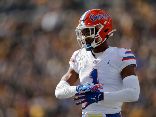 Florida defensive back CJ Henderson takes up his position during the first half of an NCAA college football game against Missouri Saturday, Nov. 16, 2019, in Columbia, Mo. (AP Photo/Jeff Roberson)