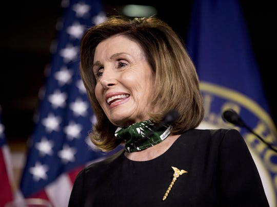 House Speaker Nancy Pelosi of Calif., smiles during a news conference Thursday on Capitol Hill in Washington.