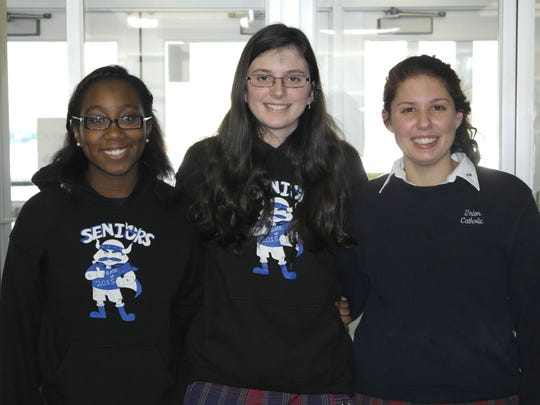 Left to right, Tonna Obaze of Iselin, Brianne Trollo of Fanwood and Elise Morano of Westfield, Union Catholic seniors and members of the Union Catholic National Honor Society, have been nominated to compete in the National Honor Society scholarship program for this school year.
