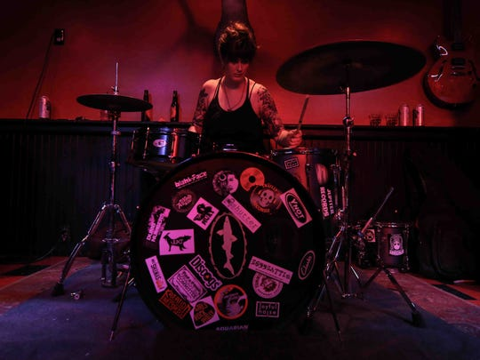 "Gozer drummer Jillian Willis performs at the ""Rock Around the Block"" event at Oddity Bar in Wilmington on Saturday."