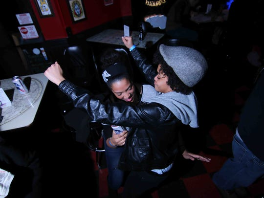 "Chelsea Grant (Daisy Episode) and Brown Suga (Flowcity) dancing at the ""Rock Around the Block"" event at Oddity Bar in Wilmington on Saturday."