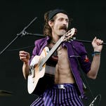 Eugene Hutz of Gogol Bordello, pictured during the Coachella Valley Music and Arts Festival at the Empire Polo Fields on April 27, 2008 in Indio, California.
