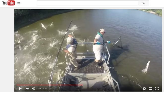 This screen grab shows the Michigan DNR's Asian carp removal training on the Illinois River.