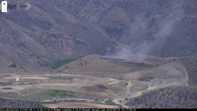 A small brush fire sparked at the Carson City Gun Range on Tuesday.