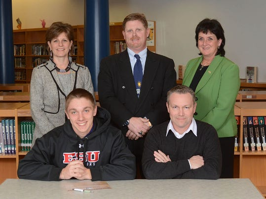 Chase James will play baseball at East Stroudsburg Back Row: Dr. Emilie Lonardi, Superintendent, Roger Czerwinski, AD, Ms. Janet May, Principal Front Row: Chase, Dad, Mr. Tim James (SUBMITTED)