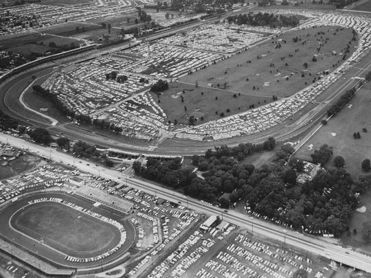 16th St. Speedway can be seen in the lower left hand corner with the Indianapolis Motor Speedway across 16th St. to the north in this 1956 photo. This particular day it was being used for parking for the Indianapolis 500.