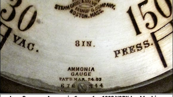 Low Pressure Ammonia Gauge for 1908 YORK Ice Machine; A. Bube's Brewery, Mount Joy, PA (Photo by S. H. Smith, 2016)