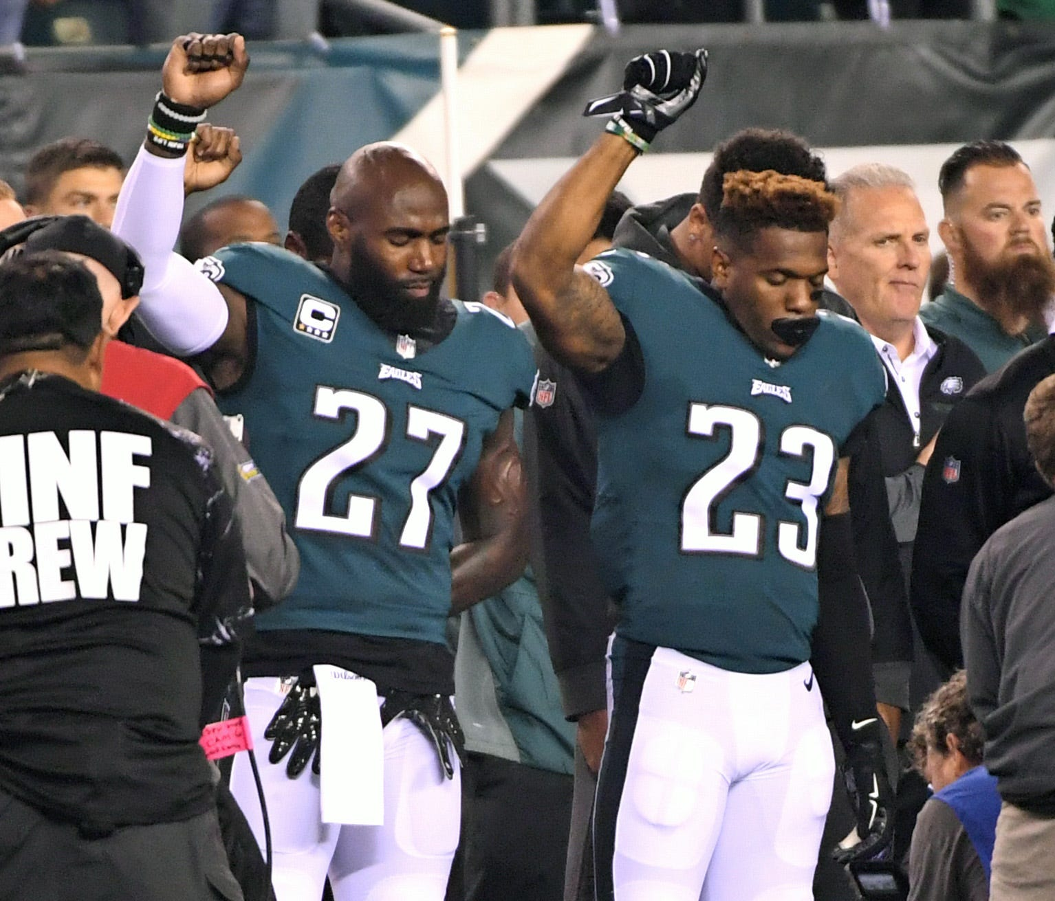 Philadelphia Eagles strong safety Malcolm Jenkins (27) and free safety Rodney McLeod (23) stand in protest during the national anthem against the Washington Redskins  at Lincoln Financial Field.