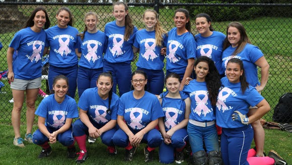 The Dobbs Ferry softball team poses for a photo before