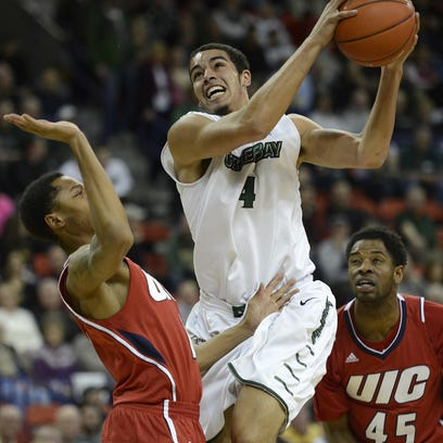 UWGB senior Jordan Fouse had a game-high 22 points in a win at SIUE on Monday.