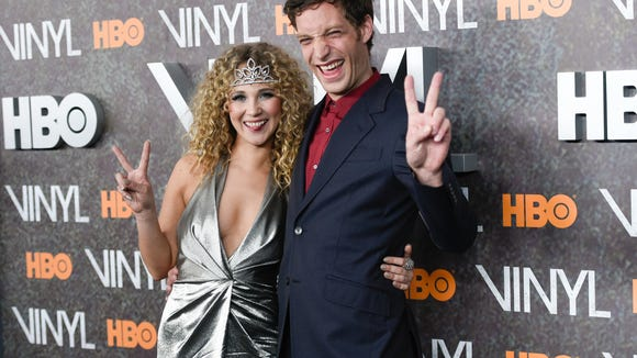 "Actors Juno Temple and James Jagger attend the premiere of HBO's new drama series ""Vinyl"", at the Ziegfeld Theatre on Jan. 15 in New York."
