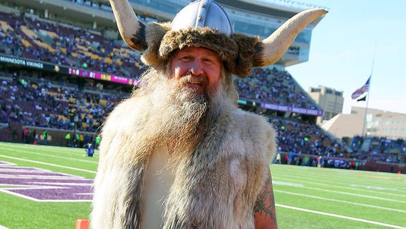 Vikings mascot Ragnar poses on the field before Sunday's