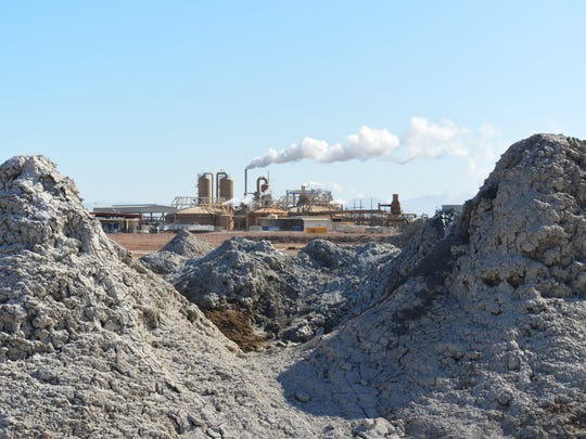EnergySource's Featherstone geothermal power plant is framed by bubbling mud pots near the southern shore of the Salton Sea on April 29, 2016.